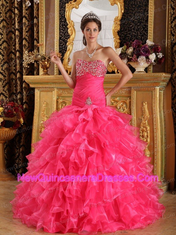 Designer Hot Pink Organza Beading Quinceanera Dress - $189.89