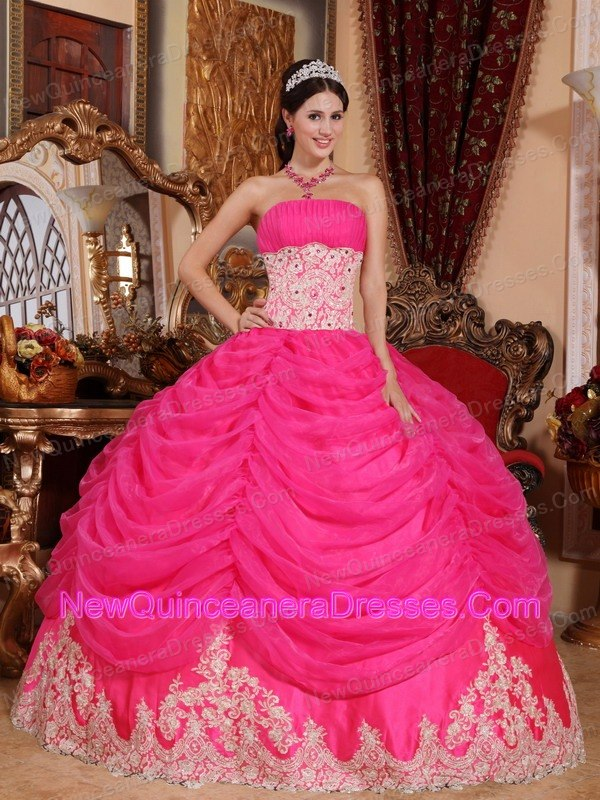 Strapless Organza Beading Hot Pink Quinceanera Dress For Guests ...