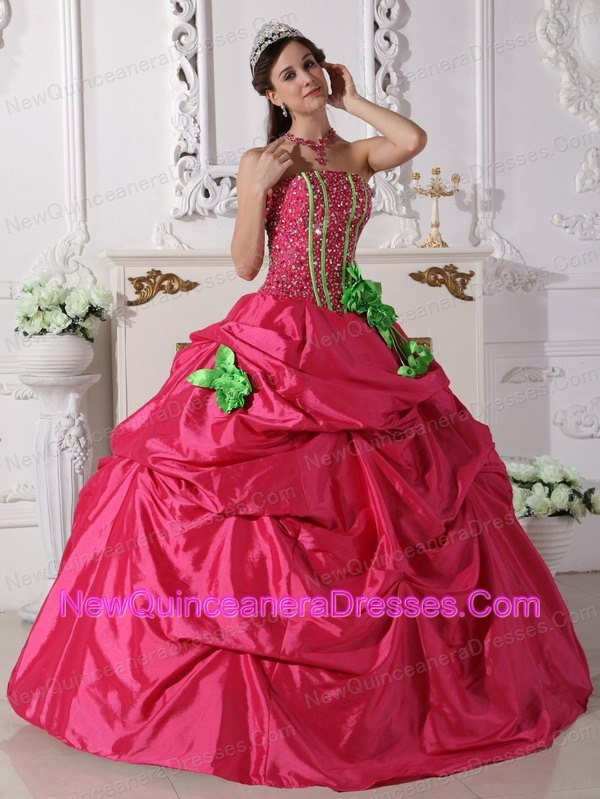 Hot Pink and Apple Green Quinceanera Dress Strapless Beading - $189.39