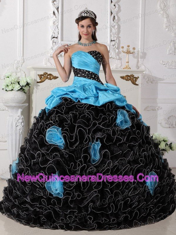 Populor Blue and Black Quinceanera Dress Sweetheart Organza Beading and Rolling Flowers Ball Gown