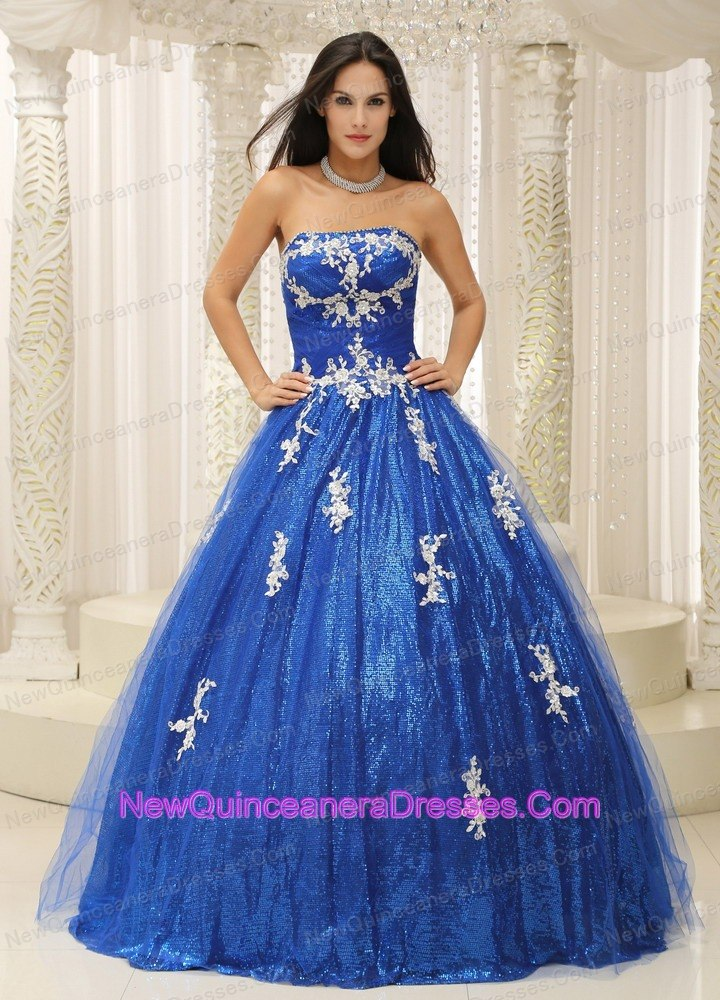 White Appliques Paillette Throughout Royal Blue Quinceanera Dress ...