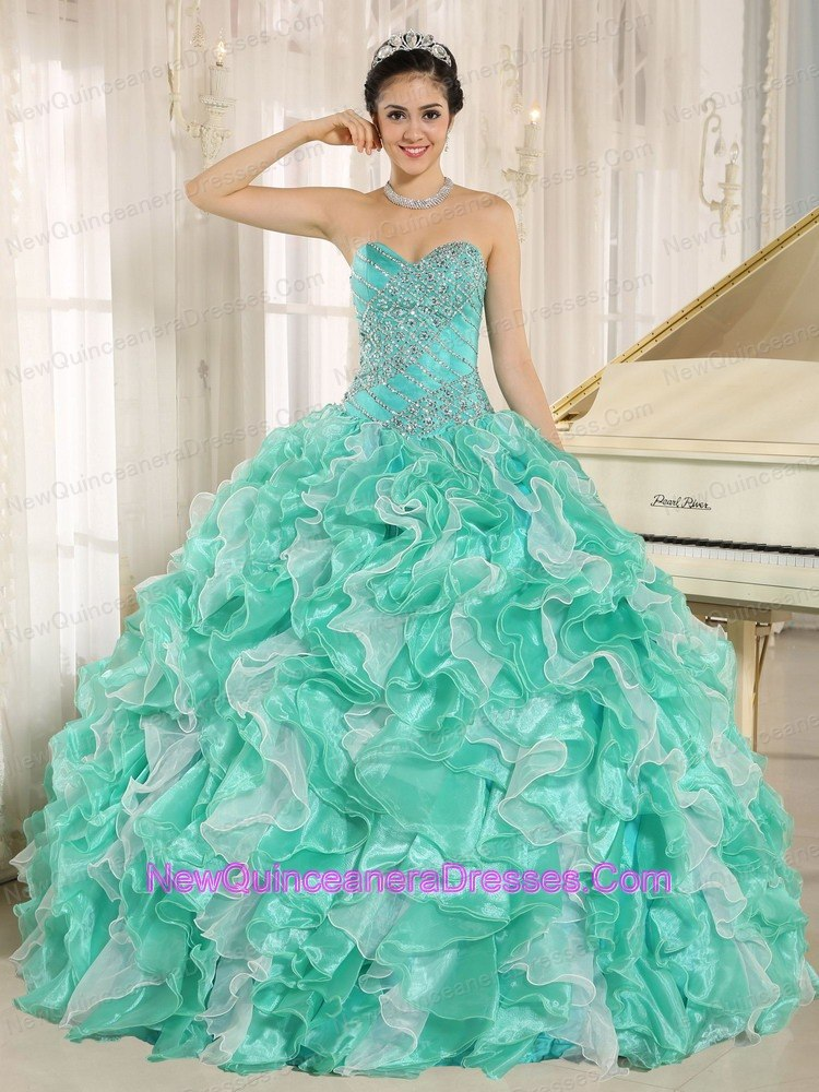 Spring Turquoise Beaded Ruffles For Sweet 16 Dress - $242.15