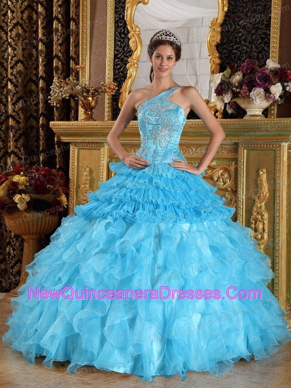 Aqua Blue Quinceanera Dress One Shoulder