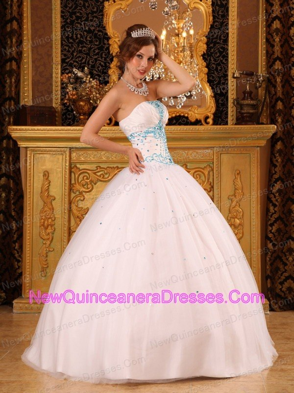 White Strapless Organza Quinceanera Dress Beading Ball Gown - $179.32