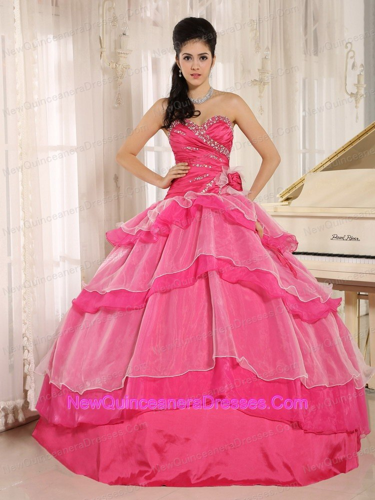 33ff15ae0d Hot Pink Sweetheart Beaded Decorate and Ruch Bodice Ruffled Layeres Rosario Quinceanera  Dress In 2013. triumph