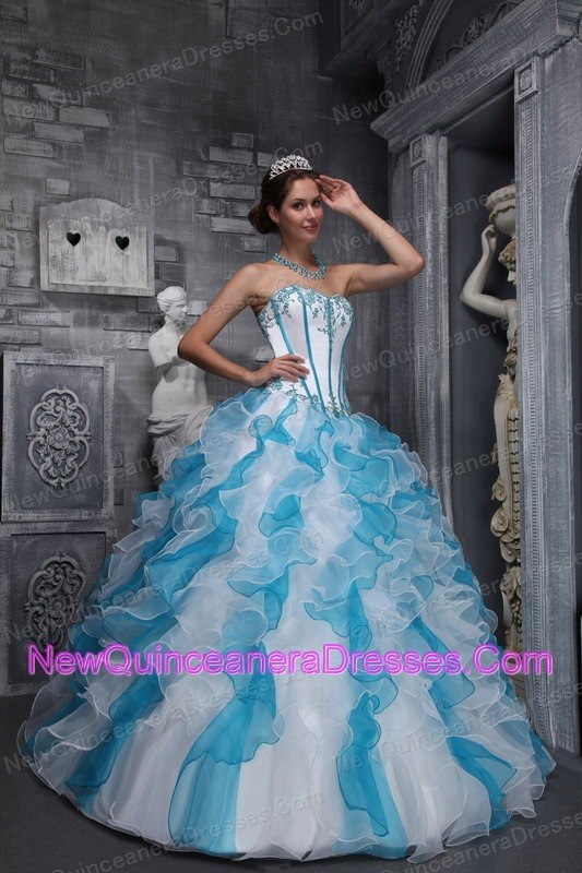 blue and white dress | new quinceanera dresses