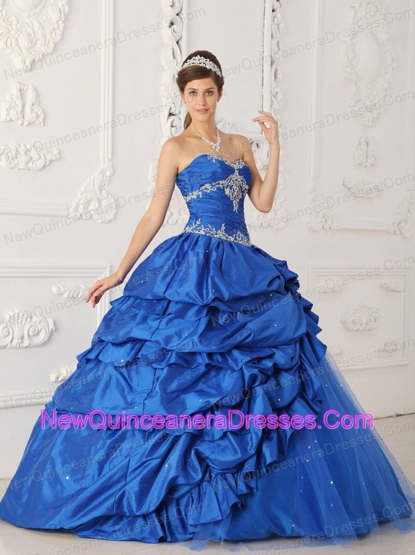 ae3fcf8fd04 Exclusive Sapphire Blue Quinceanera Dress Sweetheart Taffeta and Tulle  Appliques with Beading A-Line  . triumph