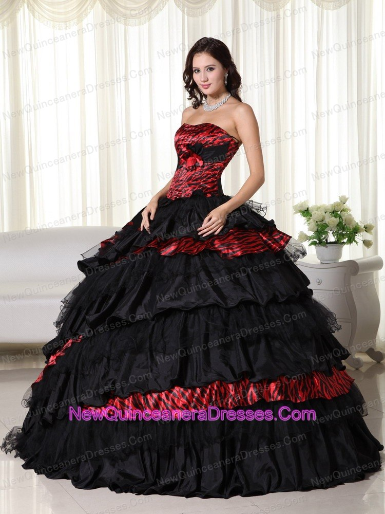 Leopard Ruffles Strapless Quinceanera Gown For Military Ball - $224.52