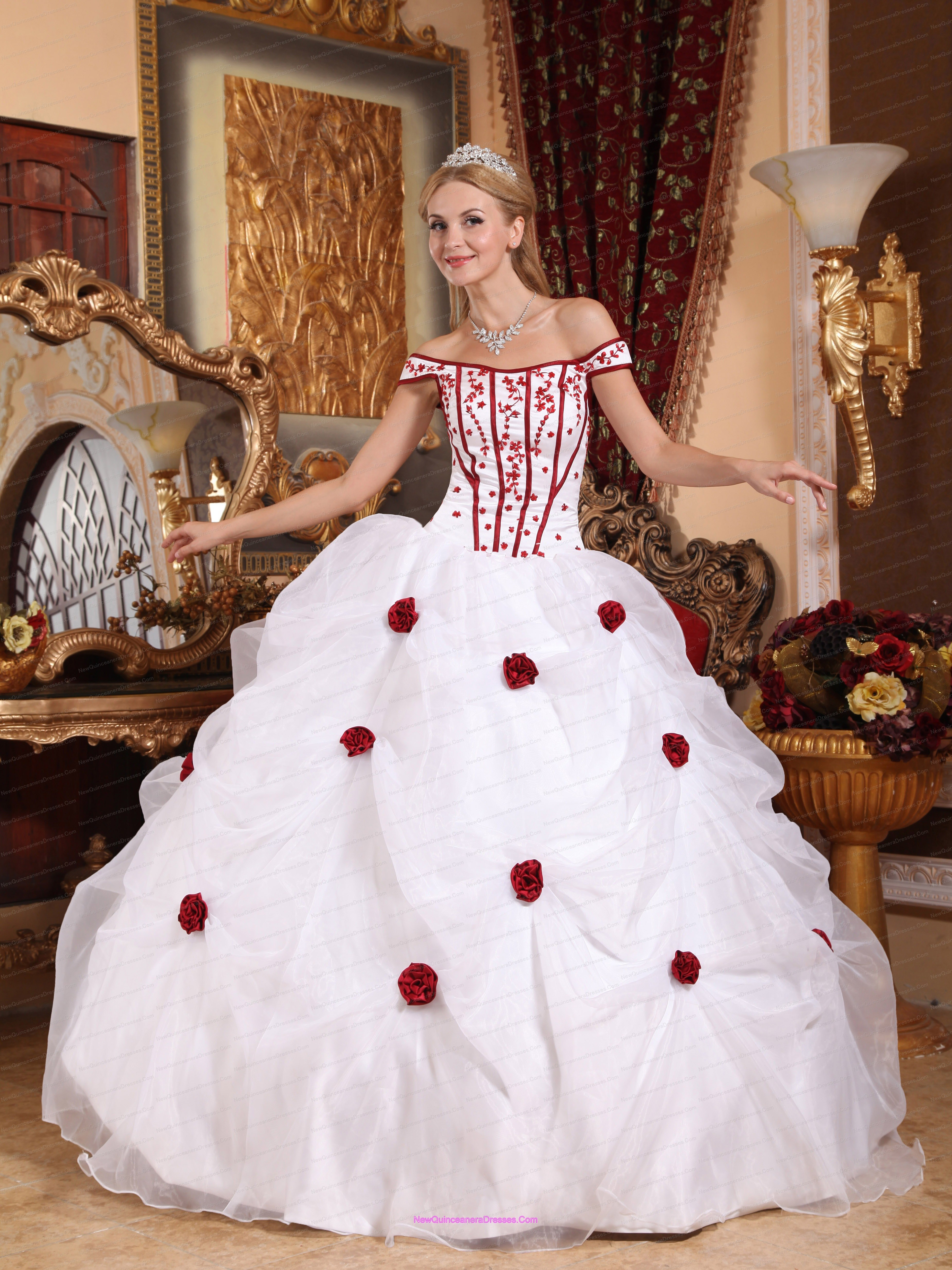 Flowers White Off Shoulder Embroidery Quinceanera Dress - $196.85