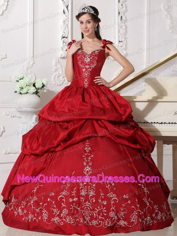 e97ade5ce6 Modest Wine Red Quinceanera Dress Straps Floor-length Taffeta Embroidery  Ball Gown. triumph