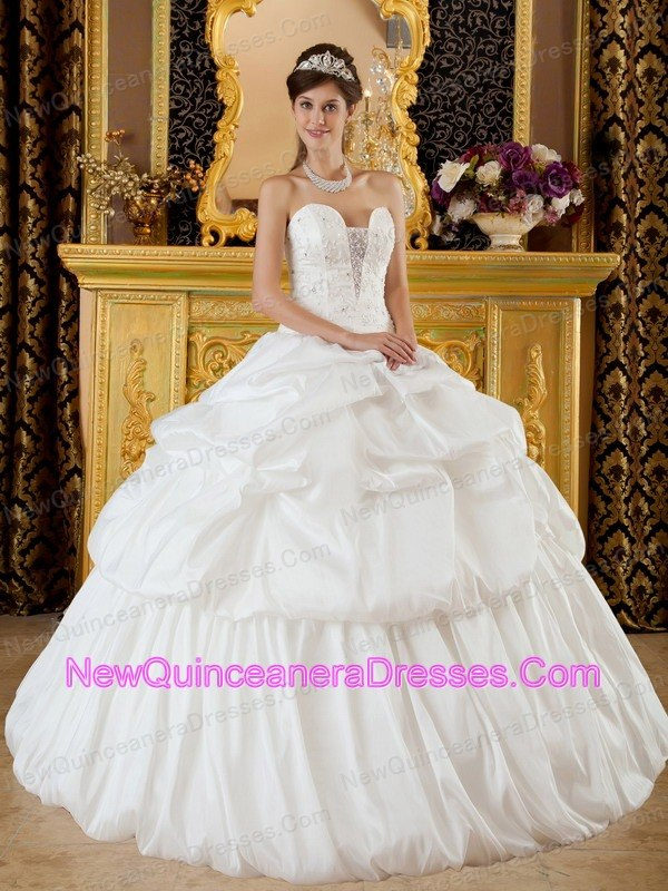 white quinceanera dress