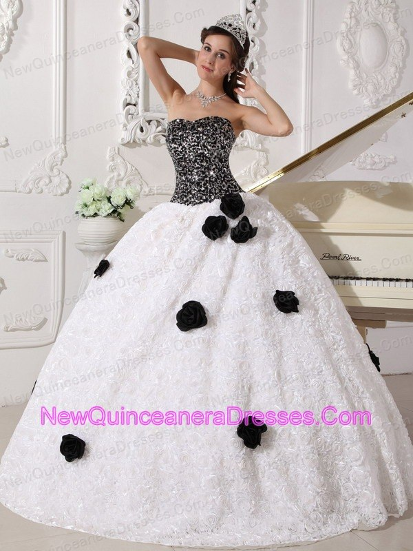 Remarkable White and Black Quinceanera Dress Strapless Special Fabric Sequins and Hand Made Flowers Ball Gown