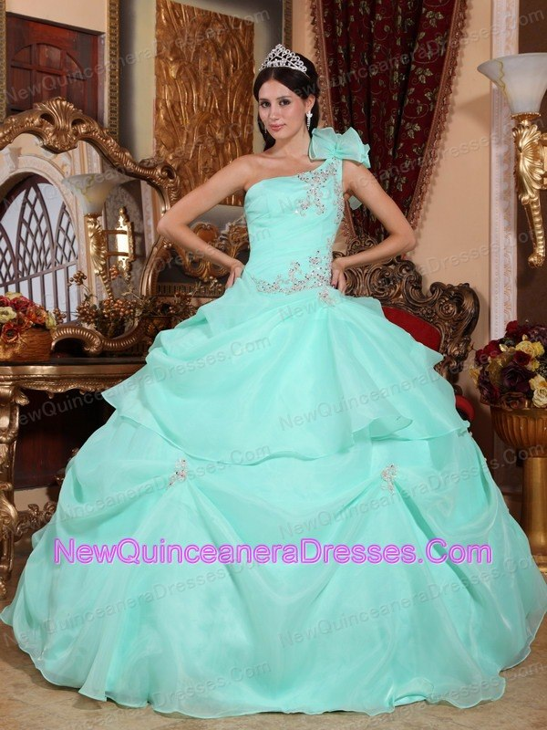 Apple Green Quinceanera Dress One Shoulder Appliques Pick-ups ...