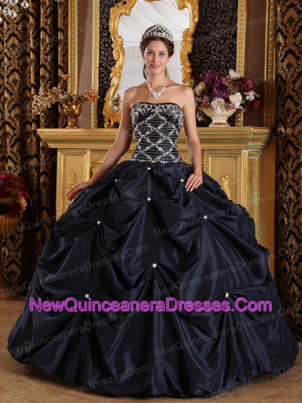 Winter Black Strapless Floor-length Beading Quinceanera Dress Pick ...