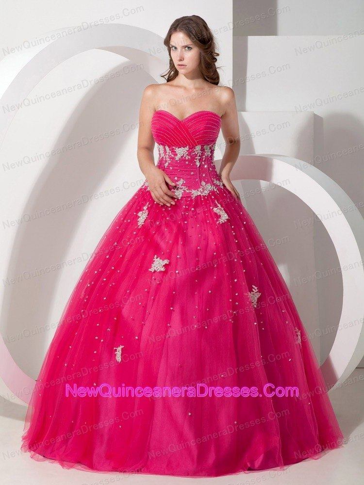 White Appliques and Beading Sweetheart Hot Pink Quinceanera - $165.08