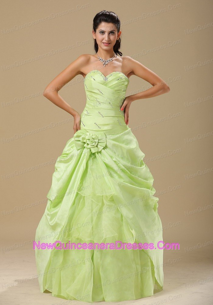 e02745116b3 Yellow Green Ruched Bodice Sweetheart Floral Trimmed Quinceanera ...