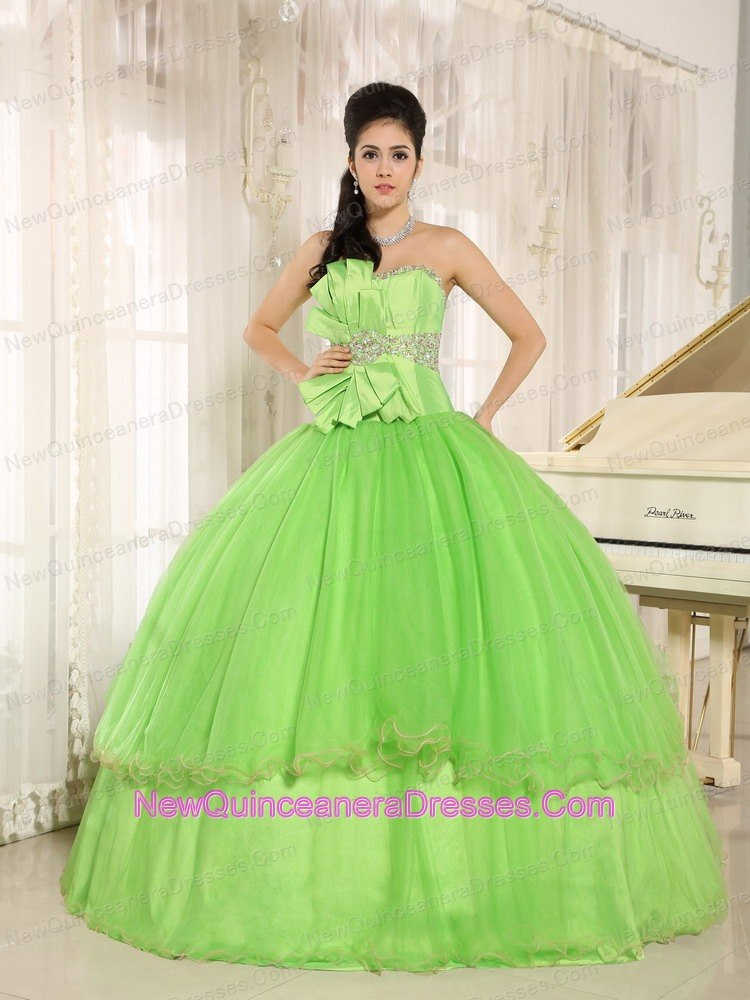 Spring Green Bowknot Beaded Quinceanera Dress Under 200 - $188.49