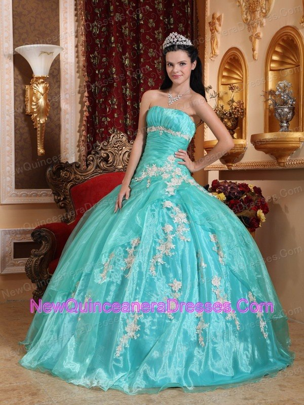 2af10ceef72 Beautiful Quinceanera Dress Strapless Organza Appliques Ball Gown. triumph