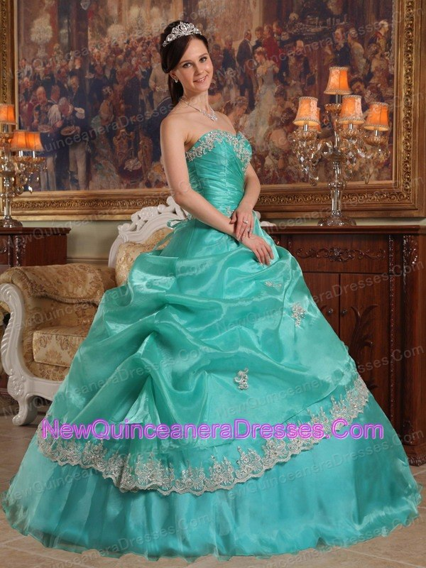 Turquoise Sweetheart Quinceanera Dress White Appliques - $192.29