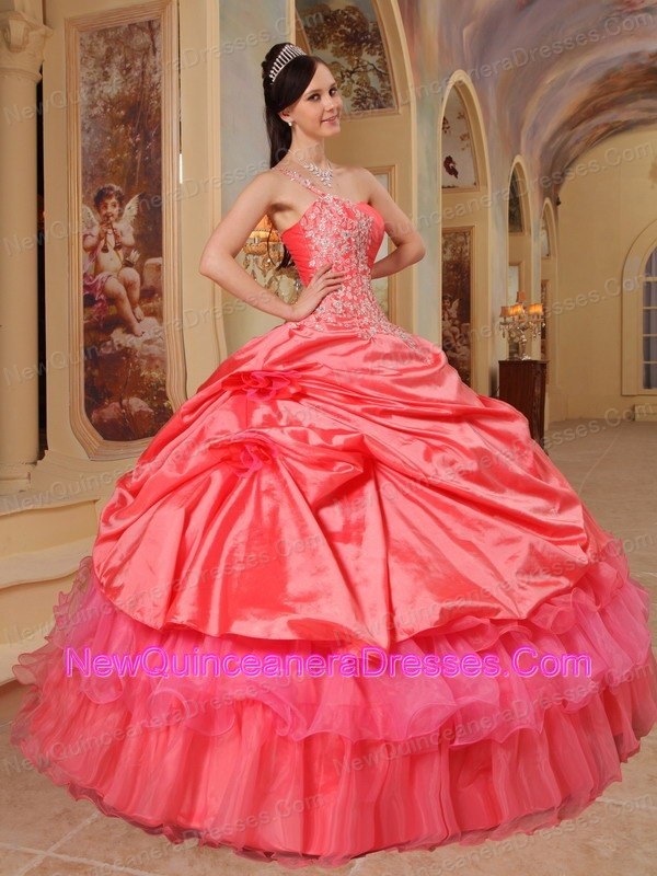 Sweet Coral Red Quinceanera Dress One Shoulder Taffeta Ball Gown