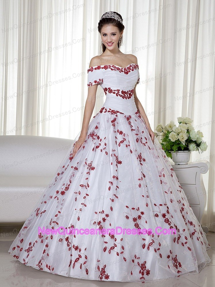 White and Red Ball Gown Off The Shoulder Floral Embroidery - $224.35