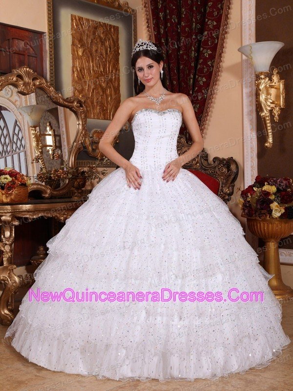 Spring White Beading Strapless Taffeta Tulle Quinceanera Dress ...