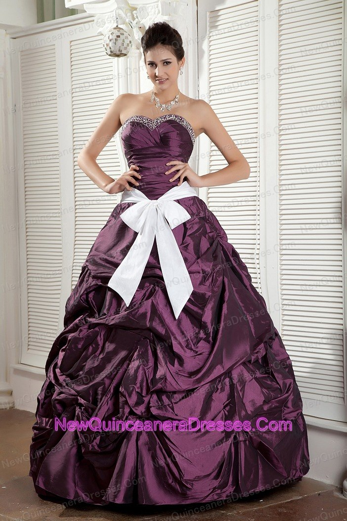 Dark Purple Sweetheart Quinceanea Dress Beading Pick-ups - $168.49