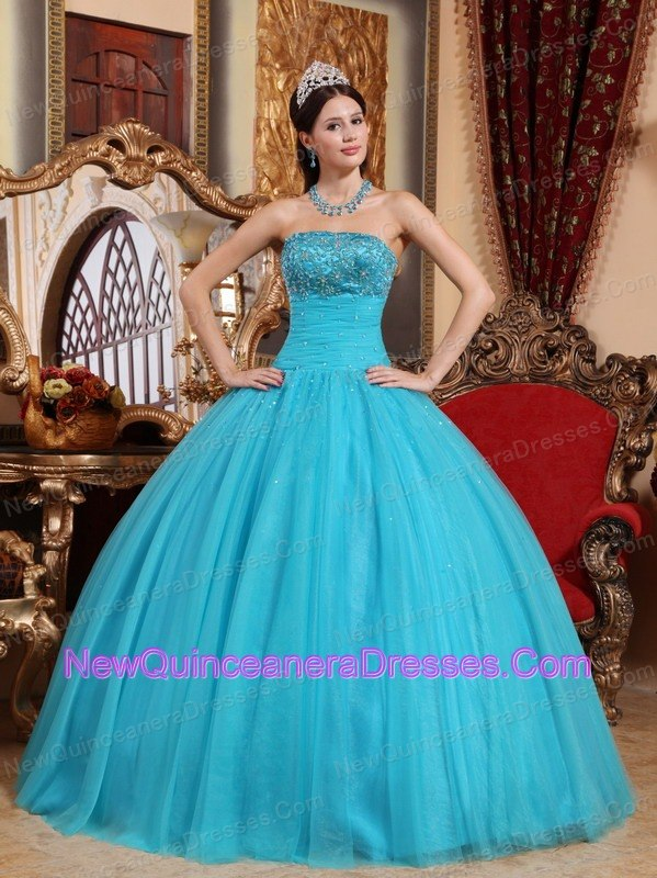 Teal Ruch Quinceanera Dress with Beaded Embroidery - $182.89