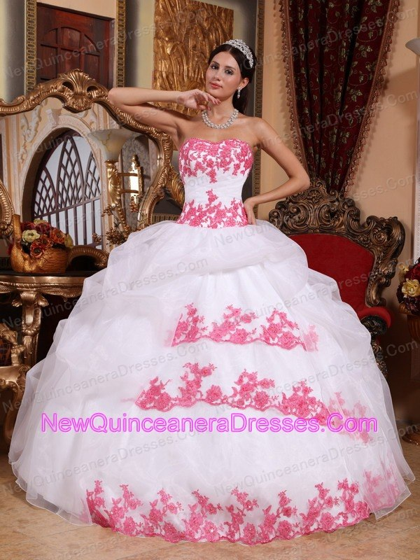 White Sweetheart Pink Appliques Organza Dress For Quinceanera ...