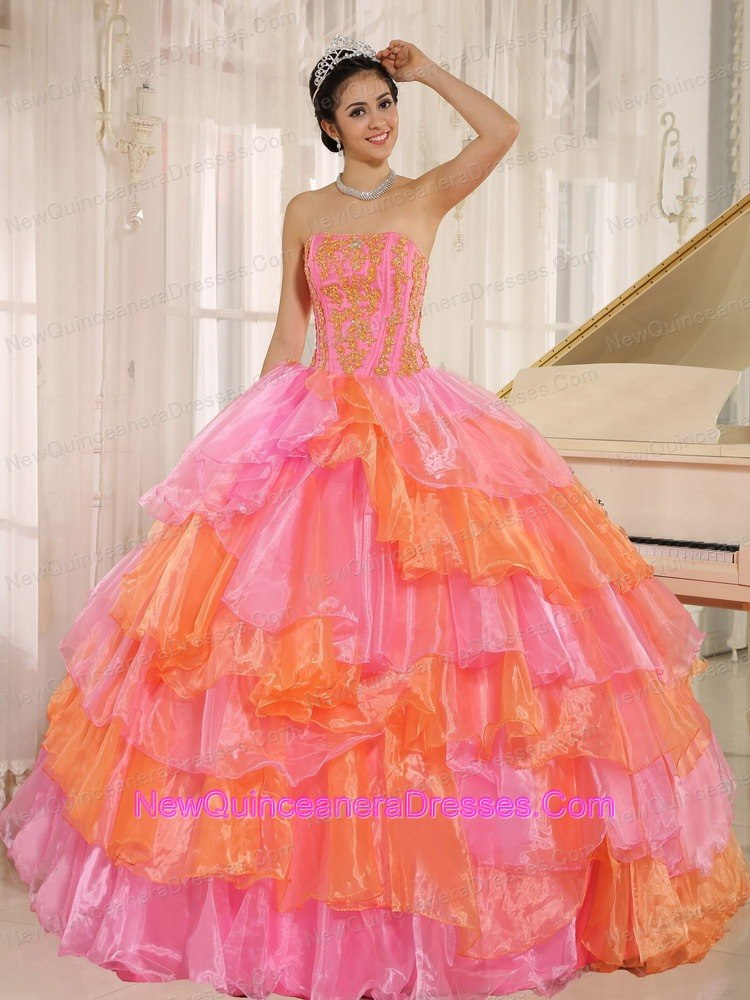 Rose Pink and Orange Ruflfled Layers Dress for Quinceanera - $228.12