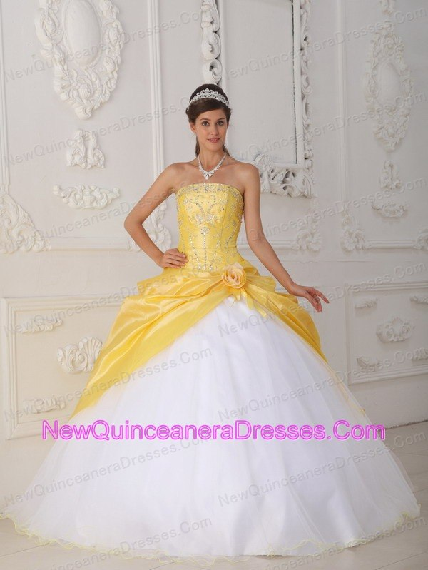 Yellow And White Quinceanera Dresses, Cheap Quinceanera Gowns in ...