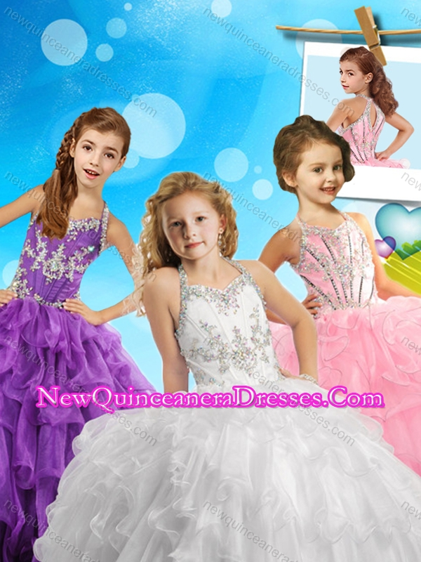 Fashionable Beaded and Ruffled Cute Little Girl Pageant Dress with Halter Top