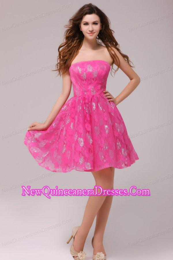 A-line Hot Pink Strapless Knee-length Dresses for Dama