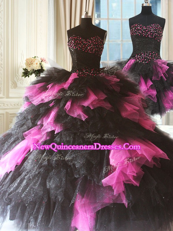Attractive Pink And Black Tulle Lace Up 15 Quinceanera Dress Sleeveless Floor Length Beading and Ruffles