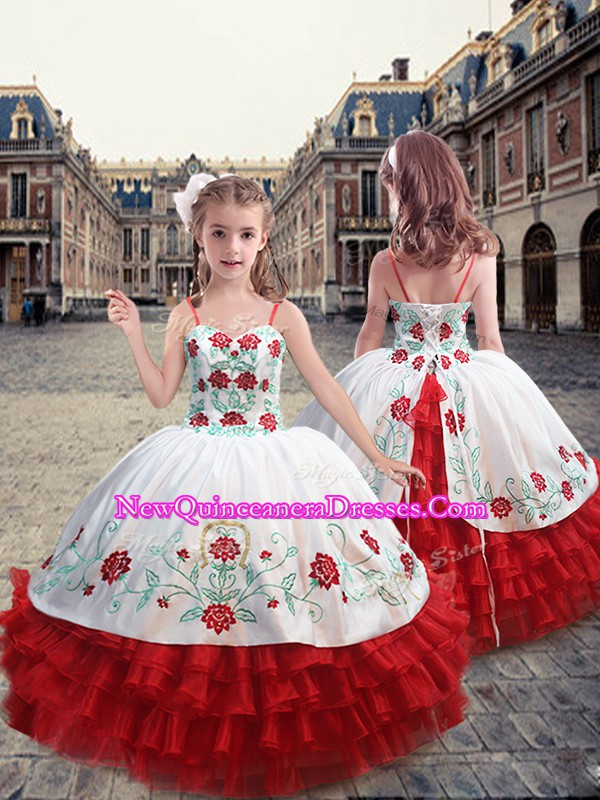 White and Red Straps Neckline Embroidery and Ruffles Kids Formal Wear Sleeveless Lace Up