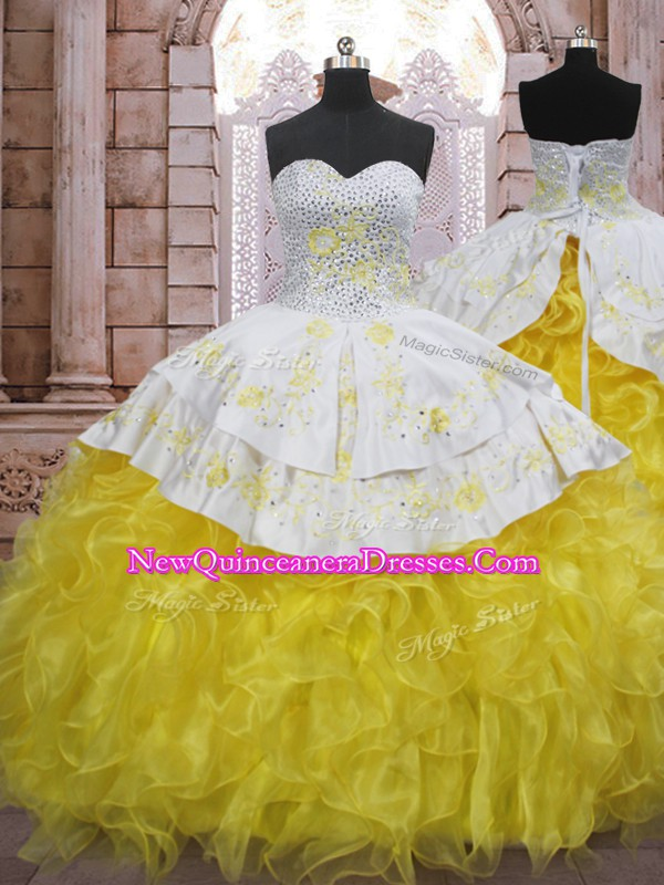 Elegant Yellow And White Ball Gowns Sweetheart Sleeveless Organza Brush Train Lace Up Beading and Appliques and Ruffles Sweet 16 Dress