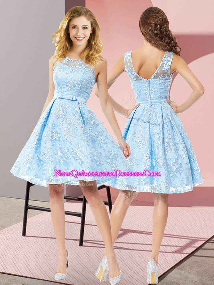 Best Aqua Blue Vestidos de Damas Prom and Party and Wedding Party with Bowknot Scoop Sleeveless Zipper