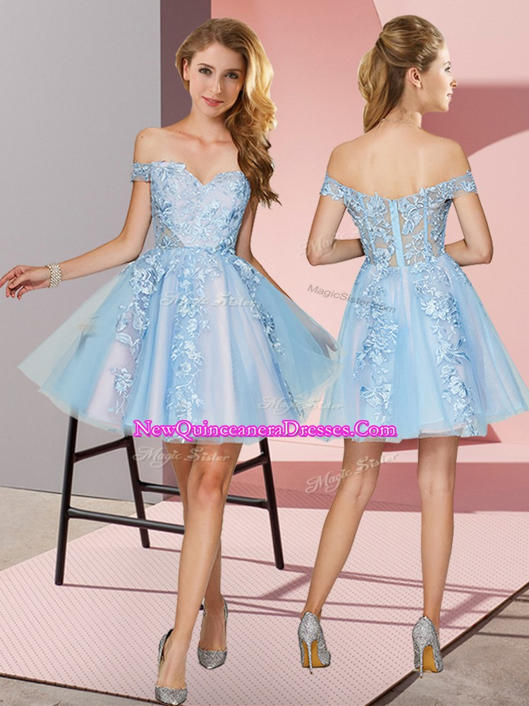 Colorful Light Blue Sleeveless Appliques Mini Length Quinceanera Court Dresses