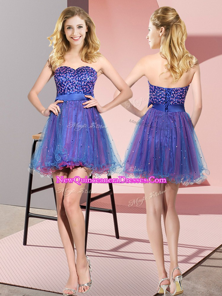 Hot Sale Sweetheart Sleeveless Vestidos de Damas Mini Length Beading and Sequins Multi-color Tulle