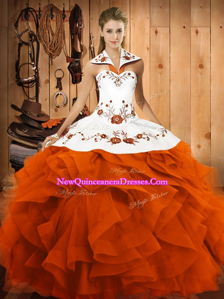 Artistic Sleeveless Embroidery and Ruffles Lace Up 15th Birthday Dress