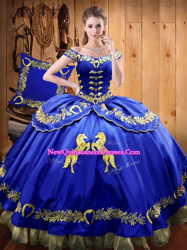 Fancy Royal Blue Satin and Organza Lace Up Off The Shoulder Sleeveless Floor Length Sweet 16 Dresses Beading and Embroidery
