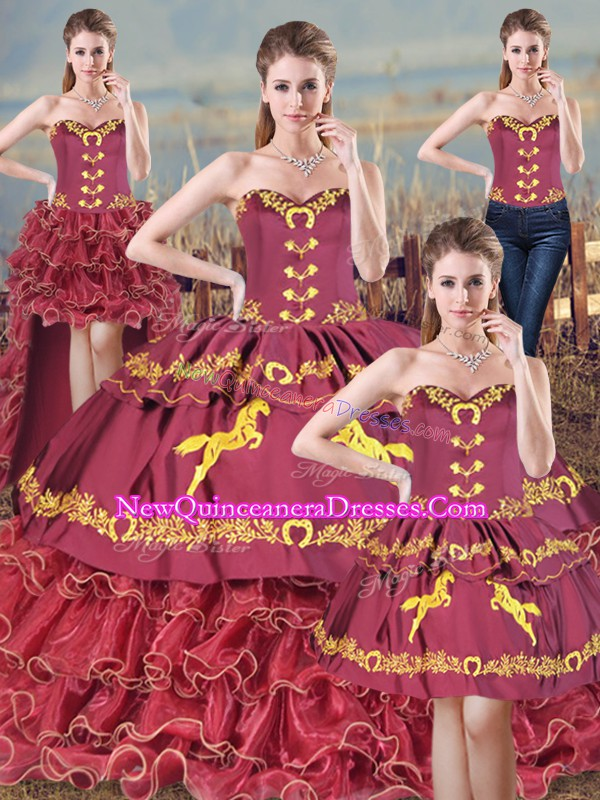 Custom Design Burgundy Vestidos de Quinceanera Sweetheart Sleeveless Brush Train Lace Up