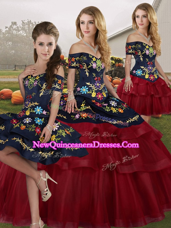Wine Red Vestidos de Quinceanera Off The Shoulder Sleeveless Brush Train Lace Up