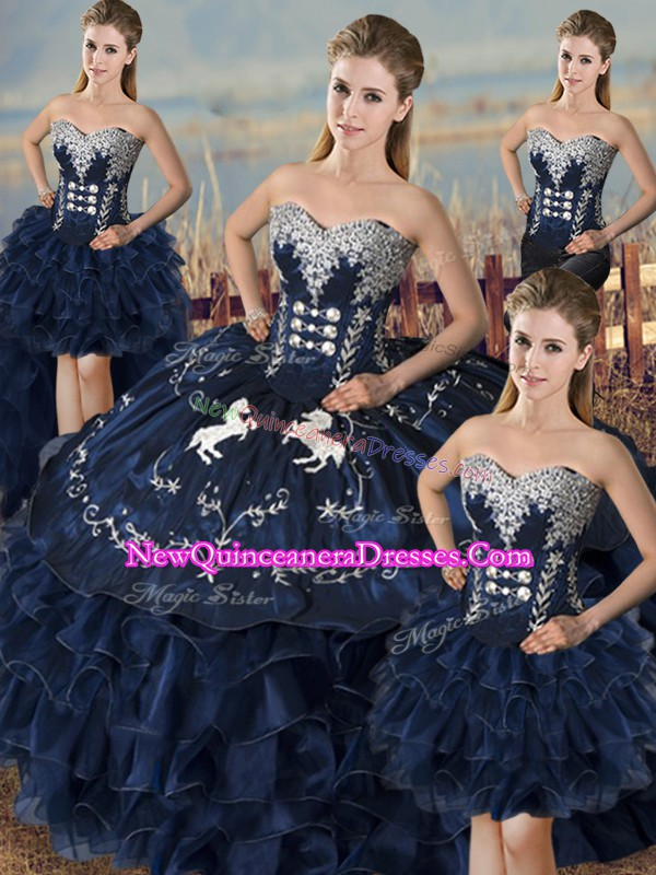 Sweet Navy Blue Ball Gowns Embroidery and Ruffles Sweet 16 Dress Lace Up Organza Sleeveless Floor Length