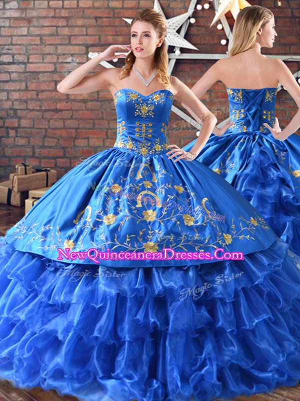 Floor Length Blue Vestidos de Quinceanera Satin and Organza Sleeveless Embroidery