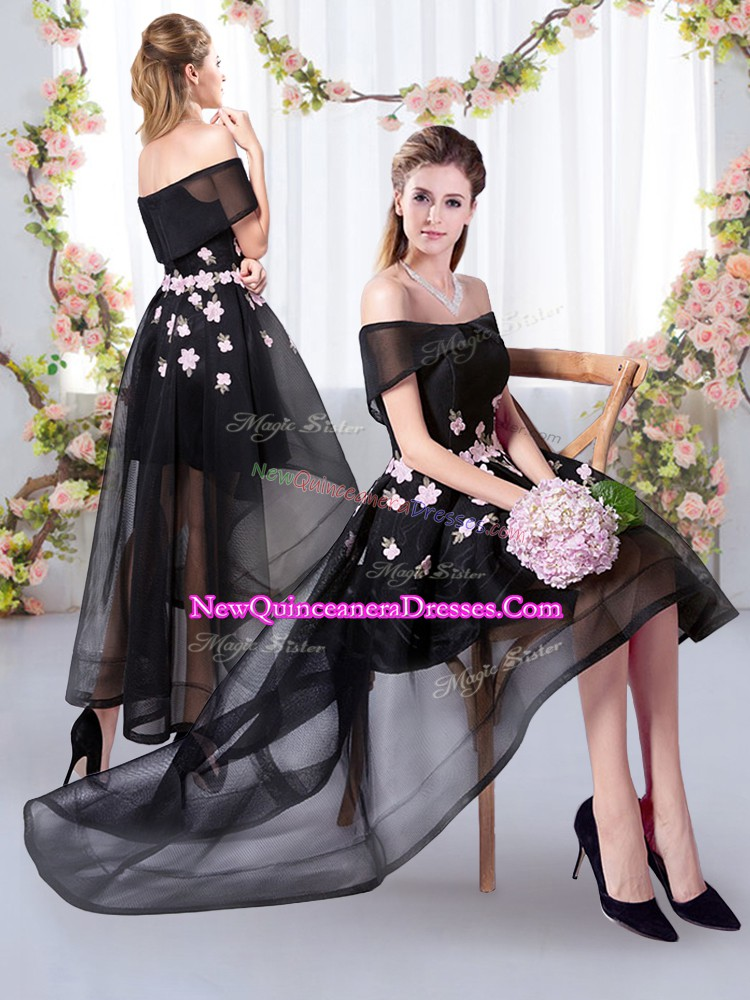 Lovely Appliques Quinceanera Dama Dress Black Short Sleeves High Low