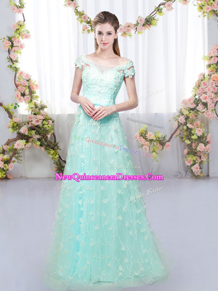 Most Popular Apple Green Empire Off The Shoulder Cap Sleeves Tulle Floor Length Lace Up Appliques Dama Dress