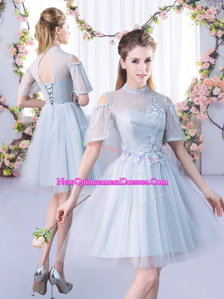 Fantastic High-neck Short Sleeves Lace Up Vestidos de Damas Grey Tulle