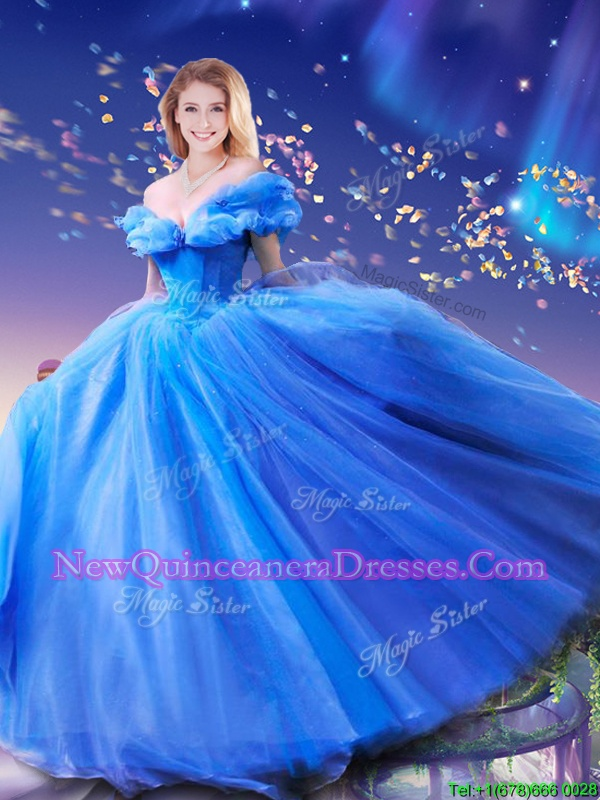 Cinderella Off the Shoulder Beading and Bowknot Quinceanera Gown Royal Blue Lace Up Sleeveless Floor Length