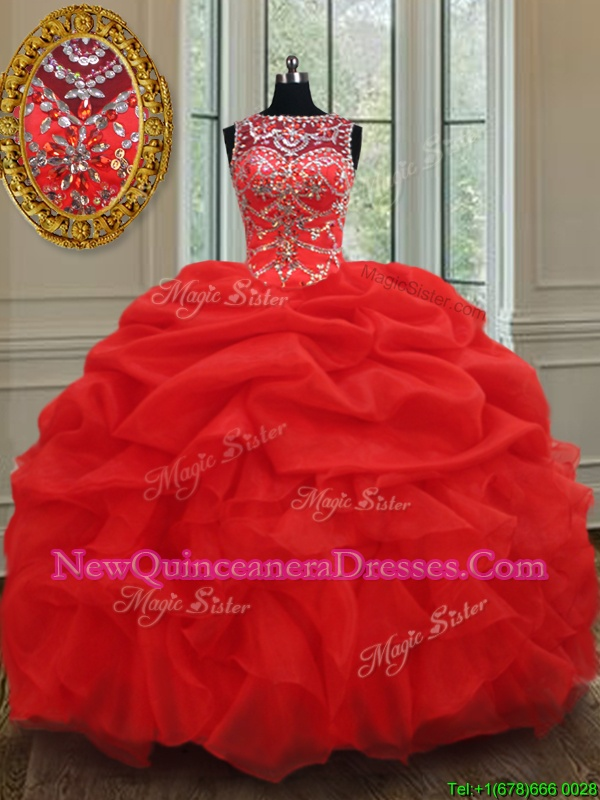 Beautiful Floor Length Ball Gowns Sleeveless Red Quinceanera Gown Lace Up